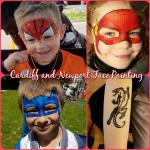 Boys love face paint too! From Superheroes & dinosaurs to arm tattoos and butterflies, there's something for all.